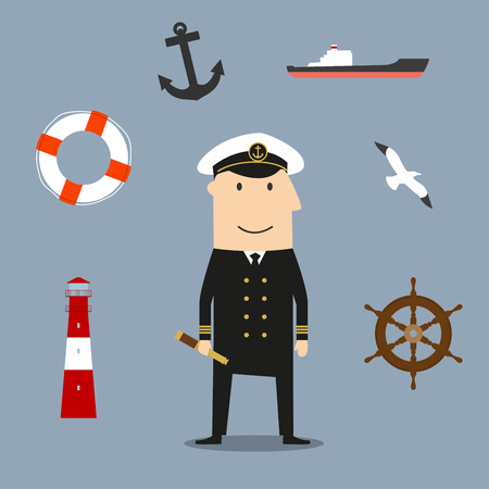 white uniform: Captain profession icons with sailor in white uniform and peaked cap, surrounded by helm and cargo ship, anchor and lifebuoy, bell and lighthouse