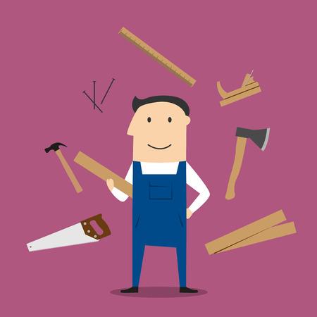 Carpenter Beruf Design mit Mann im Overall, Holz- und Tischlerwerkzeug mit Hämmern und Axt, Nägel und Holzwerkzeugkasten, Handsäge und Metallsäge, Zollstock und Raubank