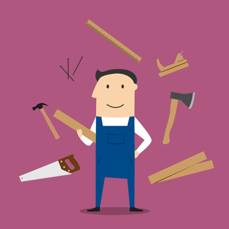 rules: Carpenter profession design with man in overalls, timber and carpentry tools with hammers and axe, nails and wooden toolbox, handsaw and hacksaw, folding rule and jack plane Illustration