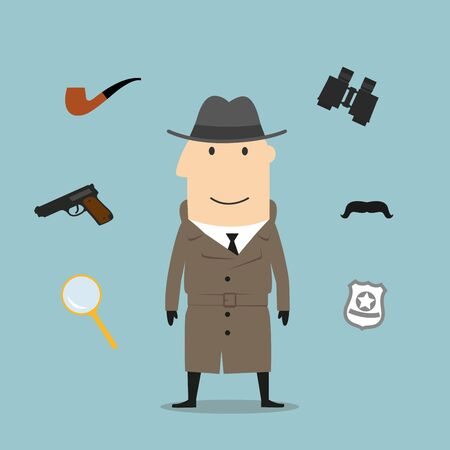 Detective profession icons with man in black hat and sunglasses, encircled by binoculars and pipe, magnifier and gun, sheriff star badge and fake moustache Illustration