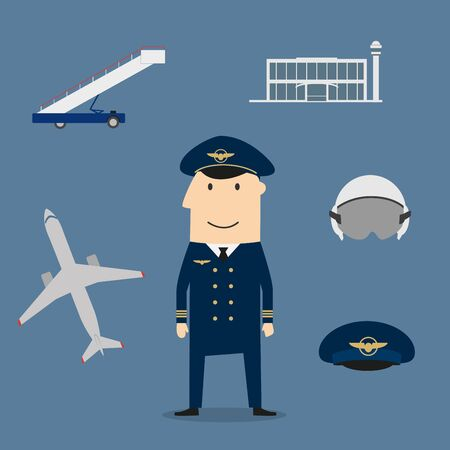 flight helmet: Pilot profession icons with captain in uniform surrounded by airplane and flight helmet, peaked cap, modern airport building and aircraft steps