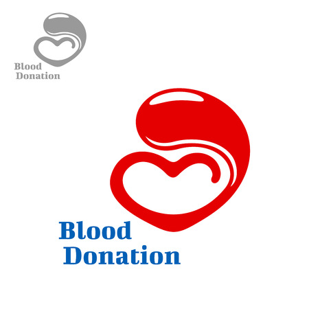vida social: Diseño del símbolo de la donación de sangre con la gota de color rojo brillante de la sangre que fluye en un corazón. diseño cuidado de la salud y la medicina, la caridad y social, el ahorro de la vida y la donación de sangre tema