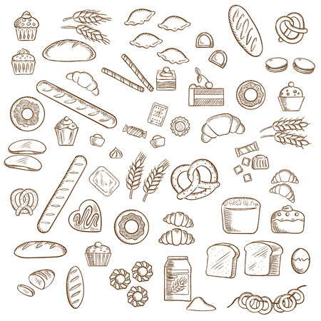 sketched icons: Bakery, pastry and confectionery sketched icons with various breads and loafs, croissants and pretzels, donuts and cakes, cookies and cupcakes, candies and bagels Illustration