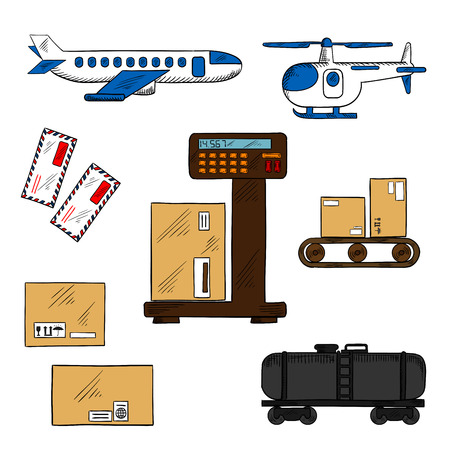 conveyor rail: Air and rail freight service icons with airplane and helicopter, tank wagon, letters and delivery boxes with packaging signs on a scales and a conveyor belt Illustration
