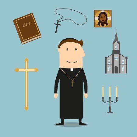 sotana: profesi�n cura con hombre maduro, rodeado de la cruz Biblia y oro, taz�n y candelabros, icono y la iglesia o templo