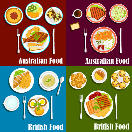 meat soup: British and australian fish and chips dishes, served with grilled lamb and beef steaks, salted salmon, meat pie, egg sandwiches, fresh vegetables and fruits, green pea soup, toasts, scones buns and hot beverages. Flat style Illustration