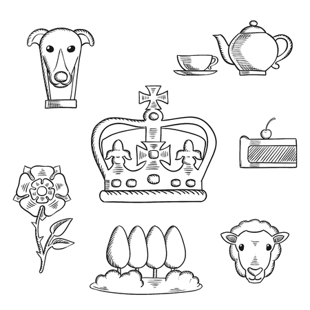 crown: England traditional objects and symbols sketch icons with heraldic tudor rose and park, royal dog and tea set, pie, sheep and Emperor crown