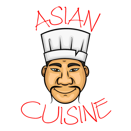 oriental cuisine: Sushi chef cartoon character with smiling chinese man with thin curled mustache wearing white cook hat. Oriental cuisine restaurant symbol, seafood menu, or food service occupation design