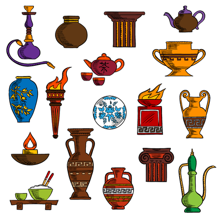 teapot: Various vases, jugs, containers and kitchenware with ancient torch and stone fire bowls, amphoras, copper and ceramic teapots, oil lamp and hookah pipe, tea services, vases, jug and plates