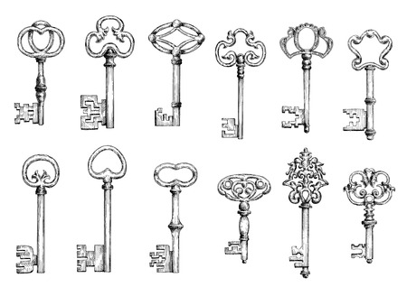 Ancient keys vintage engraving sketches with ornamental forged bows, adorned by victorian flourishes, curlicues and twirls. Maybe used as tattoo, medieval embellishment design or safety themes Ilustração