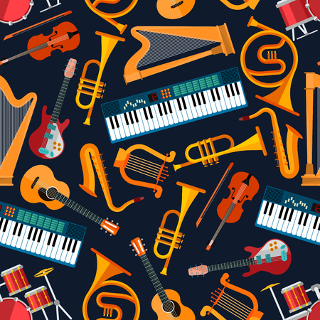 electric guitars: Musical instruments seamless pattern with drum set, acoustic and electric guitars, violin and synthesizer, saxophone and trumpet, harp, ancient lyre and horn. Art and musical entertainment themes Illustration