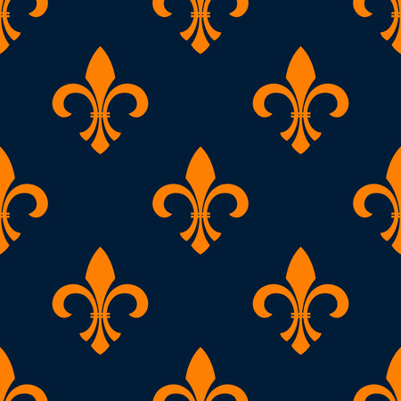 Orange fleur-de-lis floral seamless pattern of pointed buds with curved leaves on both sides, arranged into iris flowers ornament over blue background. Vintage interior or heraldic theme design
