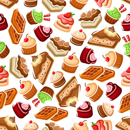 confectionery: Sweet cupcakes and cakes, fruity dessert and belgian waffles with cream decorations, cherry and strawberry fruits, chocolate chips and sprinkles seamless pattern background. For candy and confectionery themes design