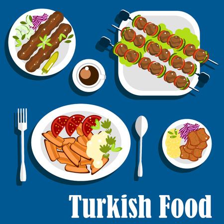 kebab: Turkish kebab dishes flat icon with chicken adana kebab with fresh red cabbage and cucumbers, beef shish kebab with vegetables on skewers, sliced lamb doner kebab with tomatoes, tandoori meat with lemon and coffee cup Illustration