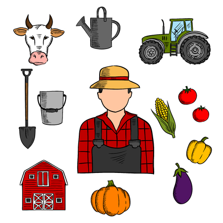 pumpkin tomato: Farmer with agriculture and farming icons of cow and tractor, barn and fresh pumpkin, tomato and eggplant, corn and bell pepper vegetables, watering can, shovel and bucket