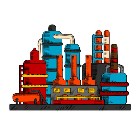 cooling towers: Industrial factory with manufacture building and system of pipes, chimneys or cooling towers. Oil and gas industry, chemical or power plants, environment theme design