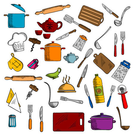 Sketched kitchen utensils and kitchenware icons with pots and cups, tea set, knives and forks, spatula and cutting board, whisk and chef hat, graters and rolling pin, tray and corkscrew, napkin and pizza cutter, oven glove and salt shaker Illustration
