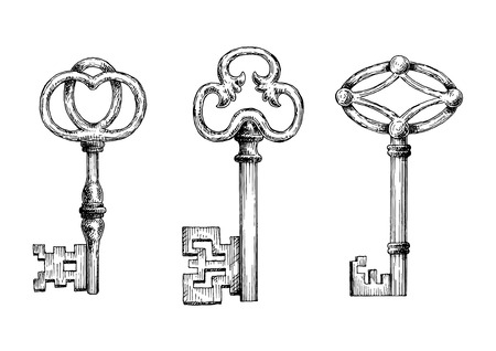 latchkey: Engraving sketches of medieval keys for security theme, tattoo or victorian stylized embellishment design
