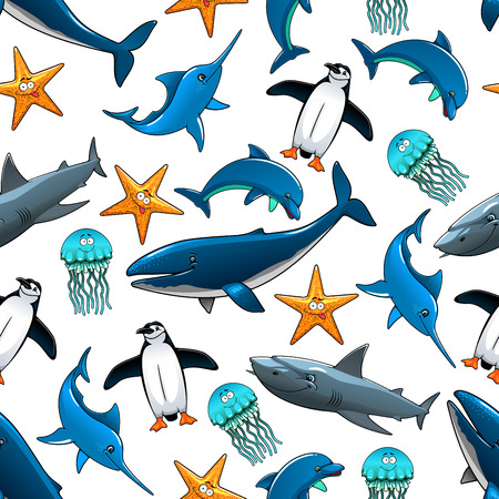 atlantic: Sea animals and birds pattern with big whales and grey reef sharks, atlantic dolphins and penguins, starfish, marlins and blue jellyfishes.Zoo or underwater wildlife themes design