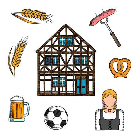 bavarian girl: Bavarian cultural tradition icon with colorful sketch symbols of beer, pretzel, grilled sausages, football or soccer ball, girl in national dress dirndl, traditional german house and cereal ears. Great for travel or Oktoberfest party design