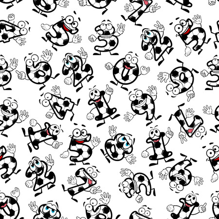 ball cartoon: Cartoon funny football or soccer numbers seamless pattern of smiling digits. For sporting, education theme or interior design