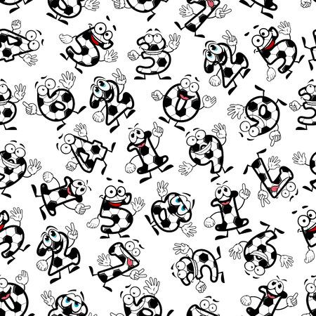 matematica: divertidos de fútbol o fútbol números de dibujos animados patrón transparente de dígitos sonriendo. Para actividades deportivas, tema de la educación o el diseño de interiores