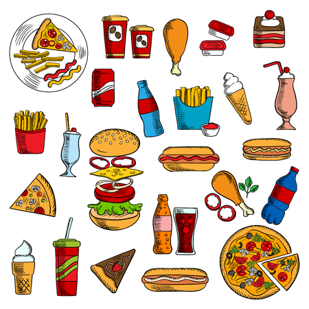 cake paper: Fast food snacks with cheeseburger and pepperoni pizza, hot dog with ketchup, mustard and mayonnaise, french fries and fried chicken legs, strawberry pie and chocolate cake, paper cups of coffee and soda, ice cream cones and milkshakes deserts