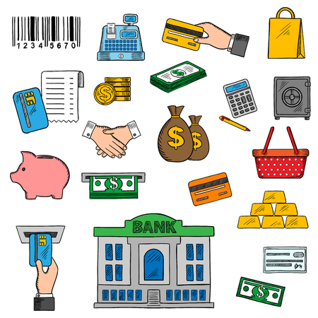 cash register building: Business, banking and retail symbols with credit cards, money bills and coins, money bags and bank building, shopping basket and paper bag, calculator and piggy bank, gold bars and safe, handshake, barcode and cash register, atm slots and bank check Illustration