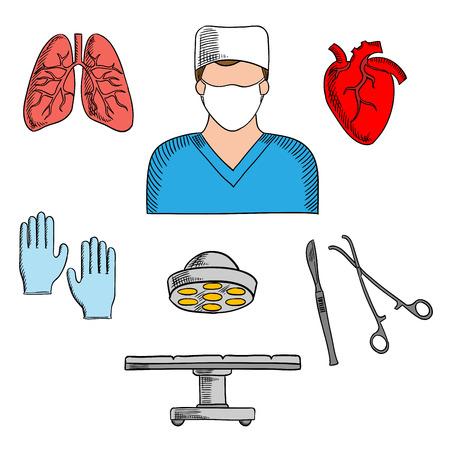 chirurgo: chirurgo maschio in divisa pronto a far icona operativa per le professioni mediche utilizzo di design con simboli colorati abbozzo di cuore umano e polmoni, tabella di funzionamento con lampada, bisturi chirurgico, guanti e pinze