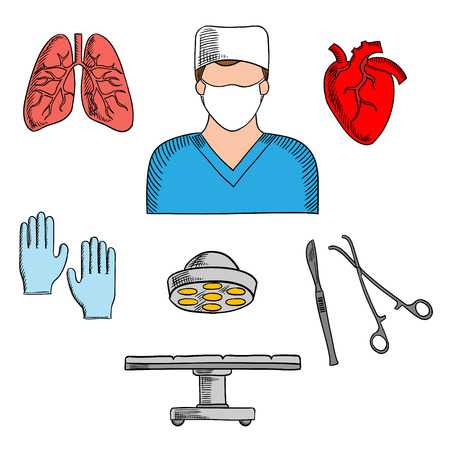 surgeon mask: Male surgeon in uniform ready to operation icon for medical professions design usage with colorful sketch symbols of human heart and lungs, operation table with lamp, surgical scalpel, gloves and forceps