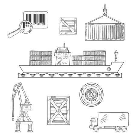 shipping port: Shipping and marine freight icons with container ship unloading at port, cargo crane and containers, delivery truck, barcode and nautical compass. Logistics and transportation theme design Illustration