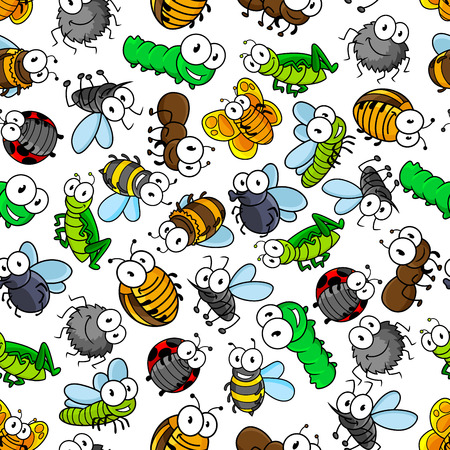 ladybug: Cartoon funny insects seamless pattern of bees and butterflies, caterpillars and flies, spiders and ladybugs, mosquitoes and bugs, dragonflies, ants and grasshoppers. Childish interior, textile, print themes design