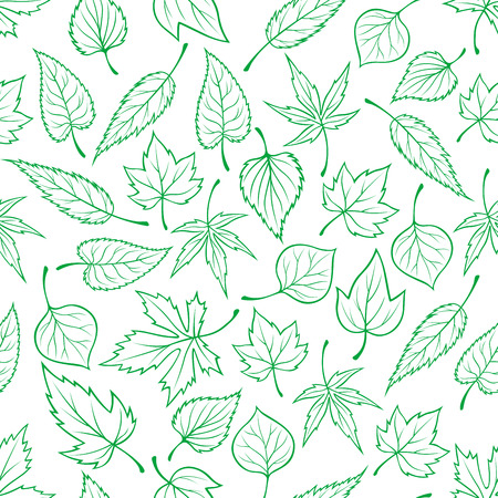 Foliage background with outline seamless pattern of green tree leaves. For nature and ecology theme or fabric print design Vetores