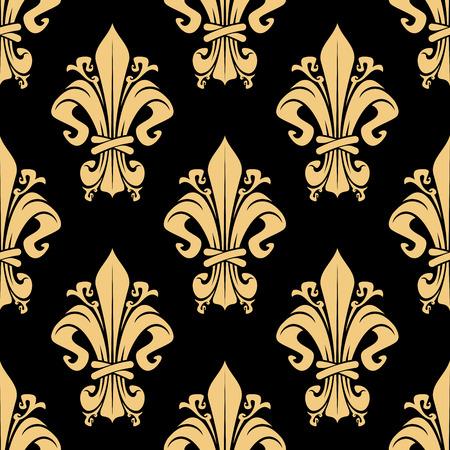 vintage scrolls: Vintage golden fleur-de-lis royal seamless pattern over black background with victorian leaf scrolls, ornate by flourishes. Luxury wallpaper, heraldry or textile themes design