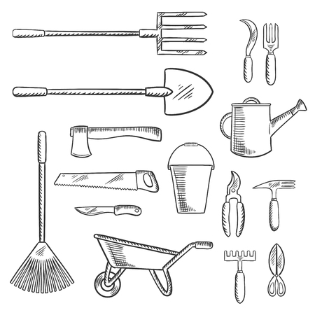 cultivator: Gardening and agricultural hand tools with axe and saw, shovel and bucket, pitchfork and rake, wheelbarrow and watering can, knife and  cultivator, scissors, shears and sickle. Agriculture, farming and gardening themes Illustration