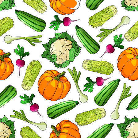 cabbage: Ripe farm vegetables seamless pattern of zucchini and leek, pumpkin and chinese cabbage, cauliflower and radish vegetables. For agriculture theme or recipe book design usage Illustration