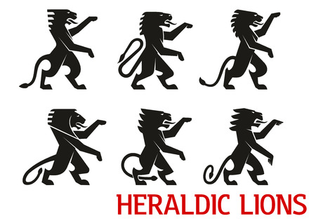 Medieval heraldic lion symbols with black silhouettes of standing lions with raised forepaws. Heraldry theme, coat of arms or vintage embellishment design