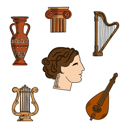 history architecture: Architecture, music and art symbols of ancient Greece with profile of antique greek theater actress, surrounded by ionic columns with ornamental scrolls, amphora and lyre, harp and mandolin. For tourism or history theme design Illustration