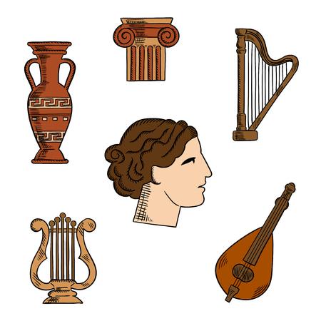 Arquitectura, música y símbolos del arte de la antigua Grecia con el perfil de la antigua actriz de teatro griego, rodeado de columnas iónicas con las volutas ornamentales, ánfora y la lira, el arpa y la mandolina. Para el turismo o el tema la historia del diseño Ilustración de vector