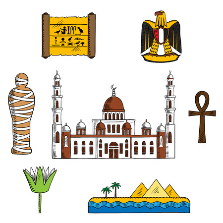 ancient papyrus: Ancient and modern Egypt symbols for travel design with pharaoh mummy and Giza pyramids, papyrus with hieroglyphics, sacred lotus flower and symbol of life ankh, eagle and Cairo mosque