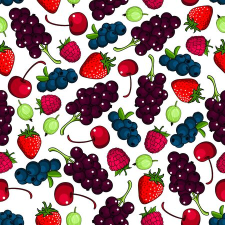 black currant: Fresh berries background with seamless pattern of sweet aromatic strawberry and raspberry, cherry and blueberry, black currant bunches and gooseberry fruits. Agriculture or vegetarian dessert recipe backdrop design