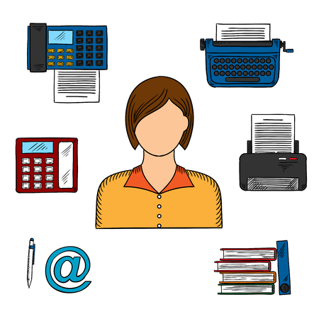 file folders: Office worker or secretary profession icons with woman, printer and telephone, fax and typewriter, file folders, pen and email sign