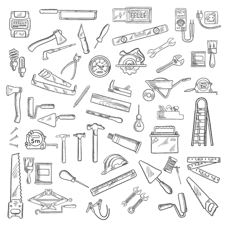 industrial design: Tools icons with wrenches and hammers, axes and saws, brushes and rollers, rulers and light bulbs, wheelbarrow and jack plane, trowels and rasps, knives and awls, nails and battery, ladder and tape measures, electricity meter and voltmeter