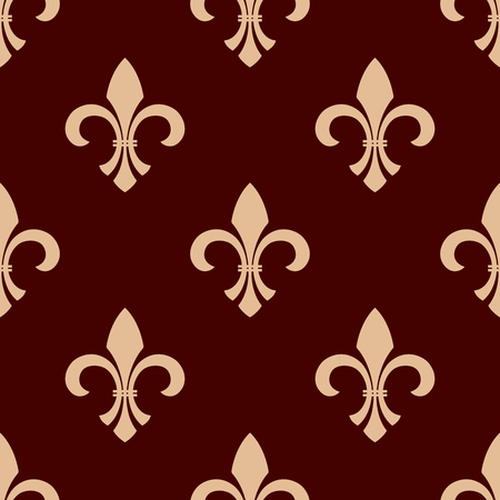 lys: Medieval heraldic floral seamless pattern for interior wallpaper design with delicate beige fleur-de-lis ornament over brown background