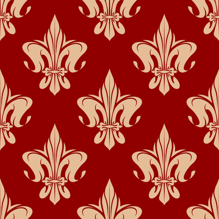 monarchy: Seamless fleur-de-lis pattern with elegant pale orange leaves compositions of french royal lily over red background. May be use as vintage wallpaper or textile design