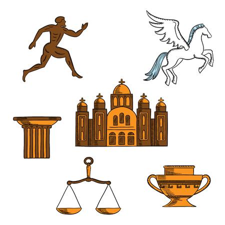 antigua grecia: La antigua mitología, arte, religión y arquitectura griegas bocetos de bienvenida a Grecia concepto de diseño con el caballo alado Pegaso, ánfora, columna dórica, corredor sparta, balanza de la justicia, la catedral ortodoxa