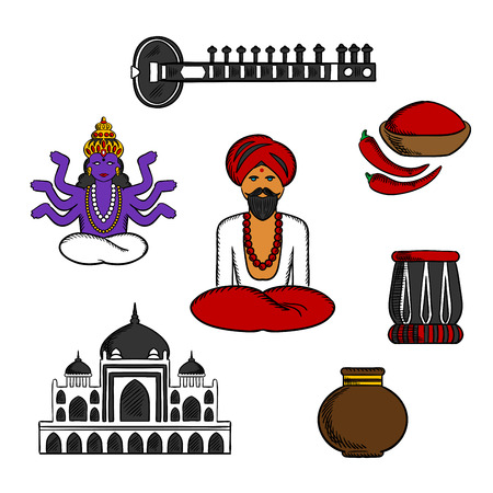 sadhu: Indian monk sadhu in national dress with god vishnu, fresh red chilli pepper and bowl of chilli powder, vase and  ancient temple, sitar and tabla drum. Culture, religion and travel symbols