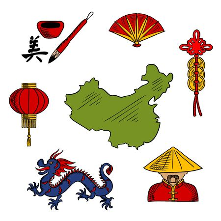 sketched icons: Chinese sketched icons with blue dragon and red paper lantern, folding fan and chinaman in bamboo hat, hieroglyph and coins with map of China. China travel and oriental culture design elements Illustration