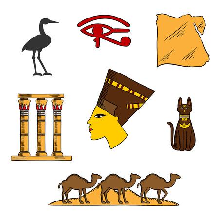 ojo de horus: Antigua reina egipcia Nefertiti con el mapa de Egipto, diosa del gato negro, paisaje postre con pirámides y camellos, las columnas del templo, ojo de Horus y los símbolos sagrados de la garza