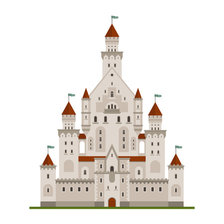 history building: Fairytale royal castle or palace building with various windows, towers and turrets with battlements and flags. Children book, adventure, medieval history themes design Illustration